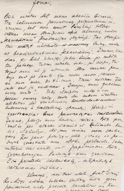 P. Cvirkos laiškas J. Šimkui