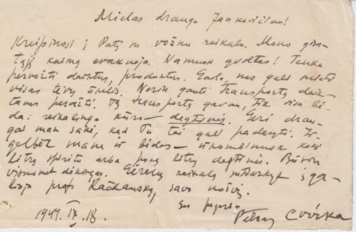 P. Cvirkos laiškas Jankevičiui, 1944 09 18