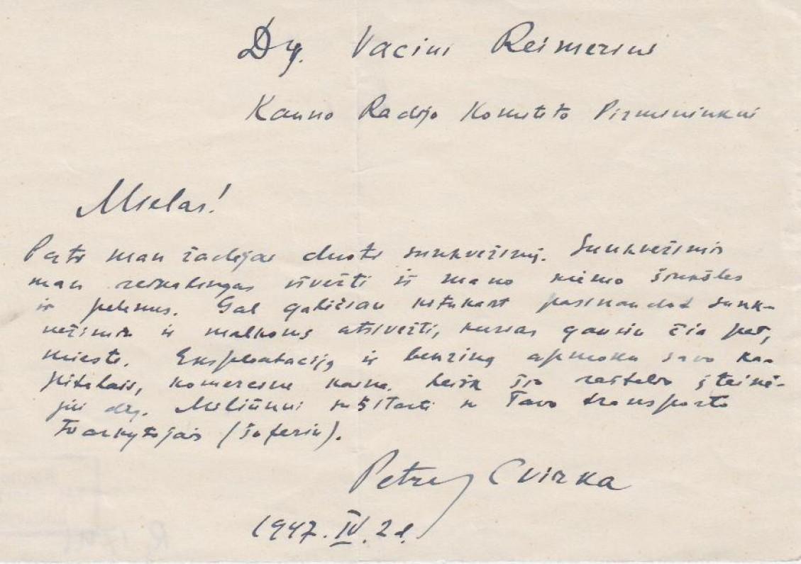 P. Cvirkos laiškas V. Reimeriui, 1947 IV 21