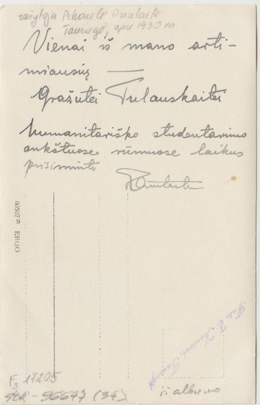 P. Orintaitės dedikacija G. Tulauskaitei