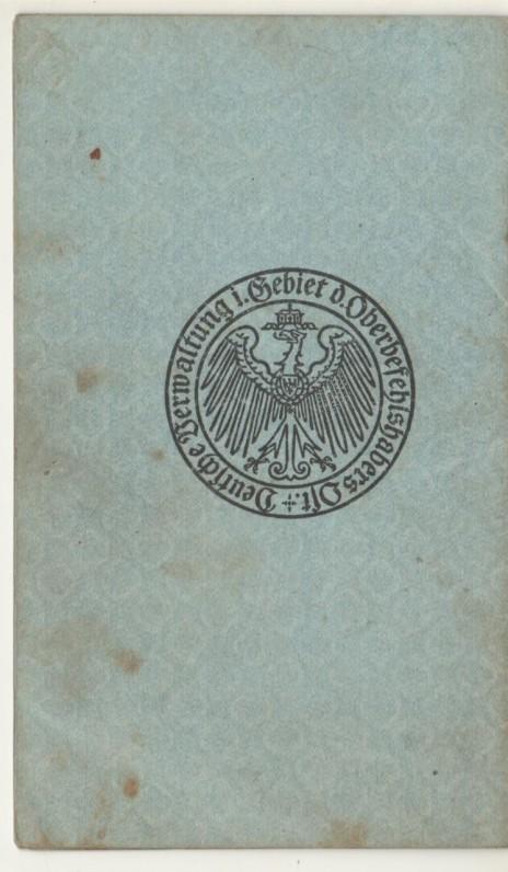 Paso, išduoto B. Brazdžioniui 1918 m. sausio 28 d., antrasis viršelis