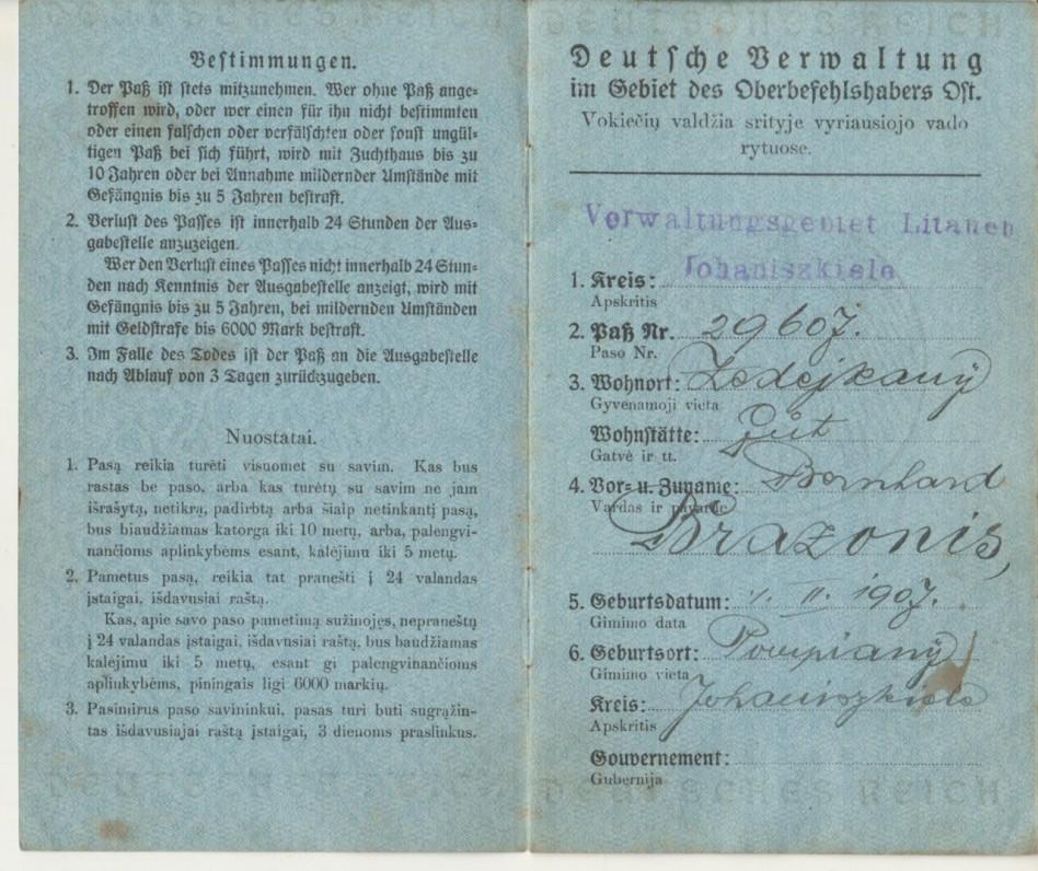 Paso, išduoto B. Brazdžioniui 1918 m. sausio 28 d., pirmasis atvartas