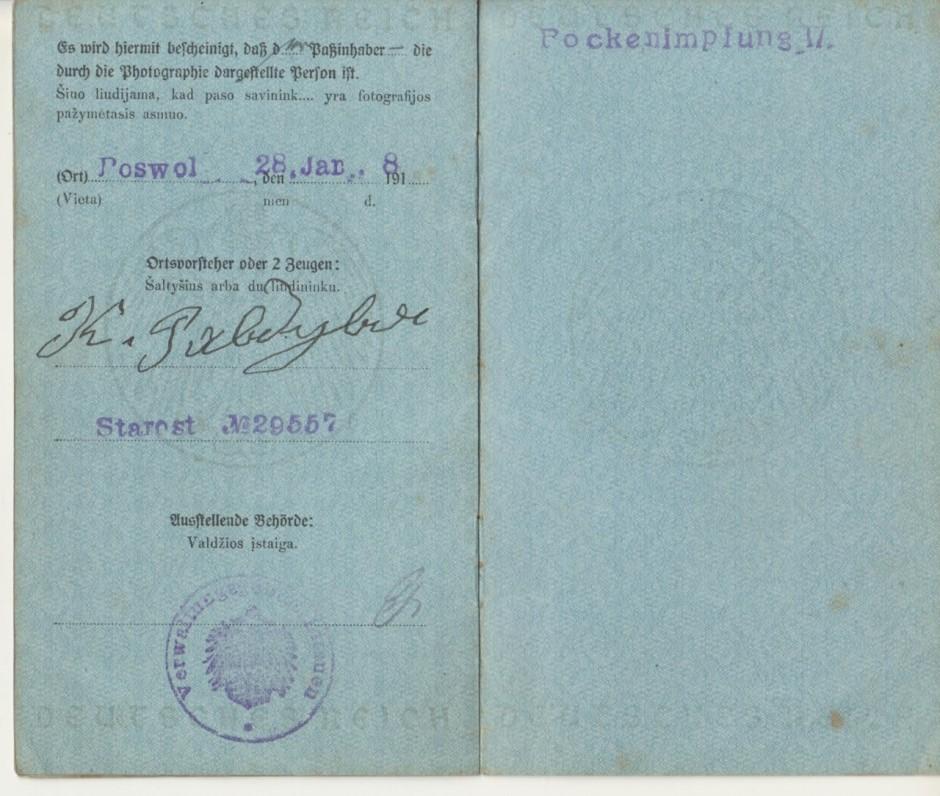 Paso, išduoto B. Brazdžioniui 1918 m. sausio 28 d., trečiasis atvartas
