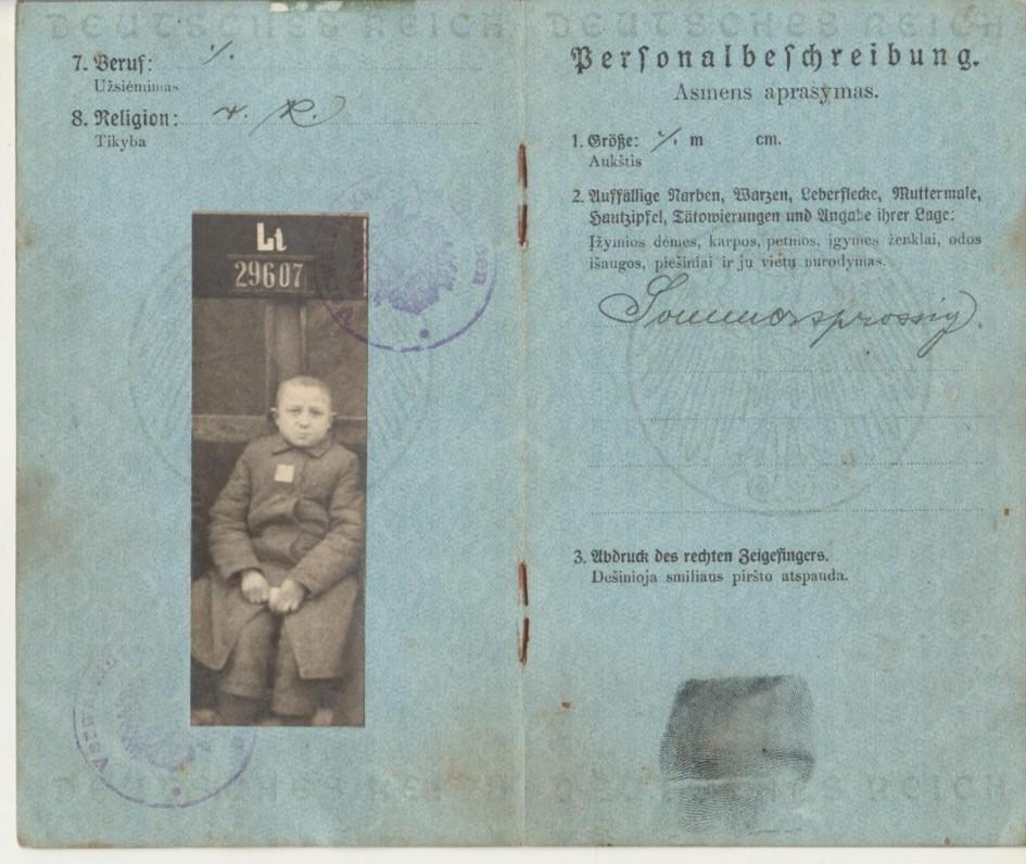 Paso, išduoto B. Brazdžioniui 1918 m. sausio 28 d., vidurinis atvartas