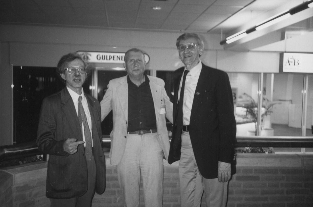 Priėmus Lietuvą į Tarptautinį PEN klubą. S. Goštautas, R. Lankauskas, A. Landsbergis. Olandija, 1989 m.