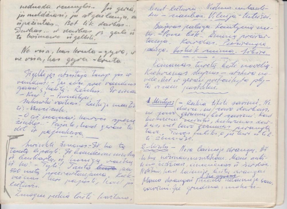 """Rankraštis iš romano """"Aukšti Kauno kaminai"""", Vilnius, 1981 m., V. Petkevičiaus užrašų knygelė, 2"""