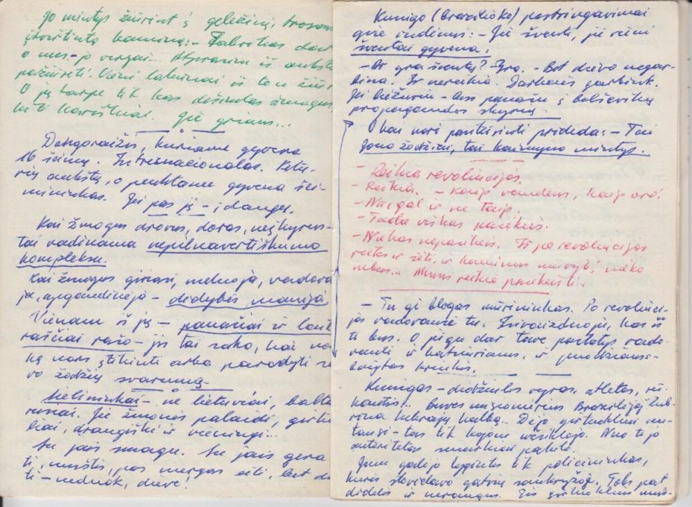 """Rankraštis iš romano """"Aukšti Kauno kaminai"""", Vilnius, 1981 m., V. Petkevičiaus užrašų knygelė"""