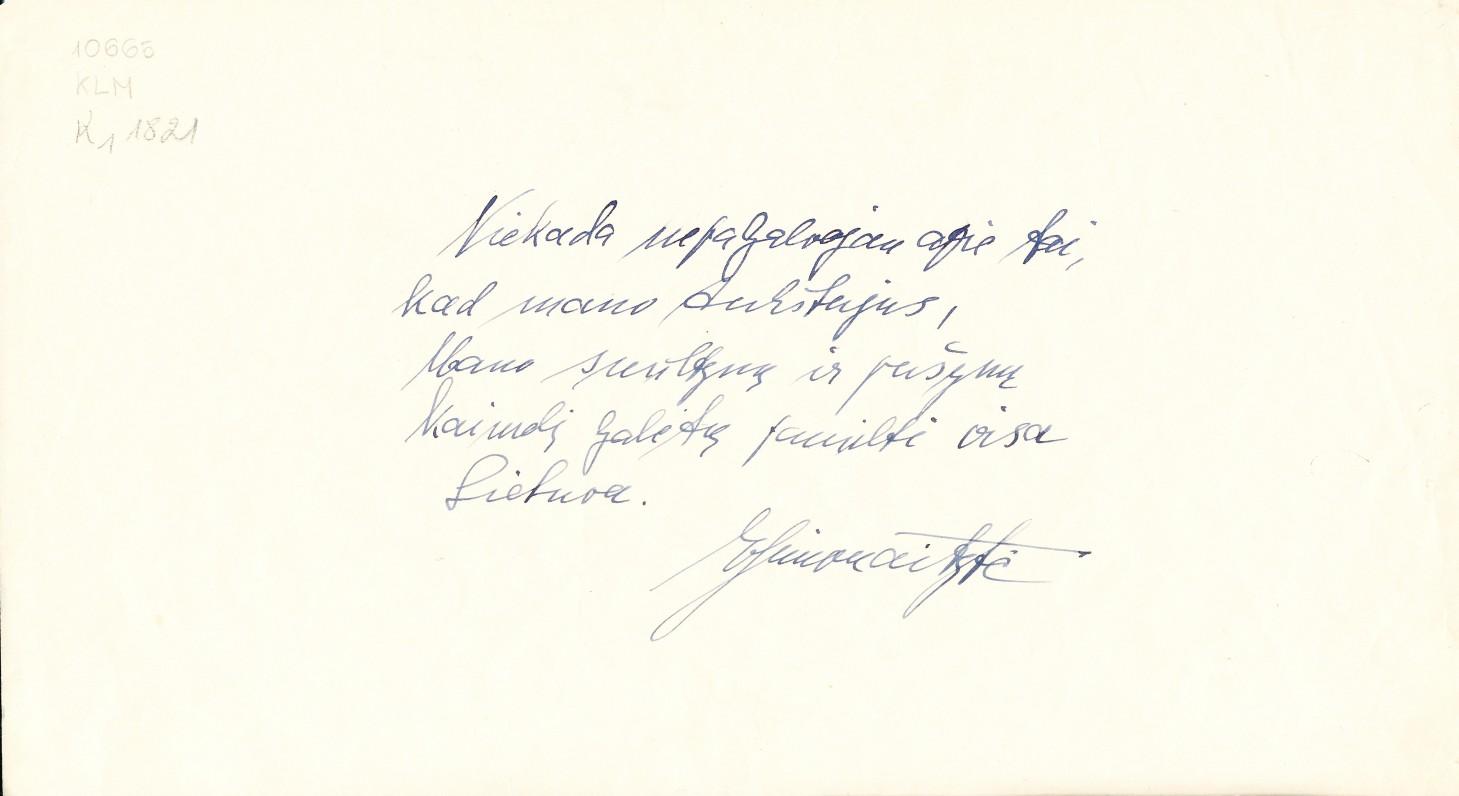 Rašytojos I. Simonaitytės rankraštis