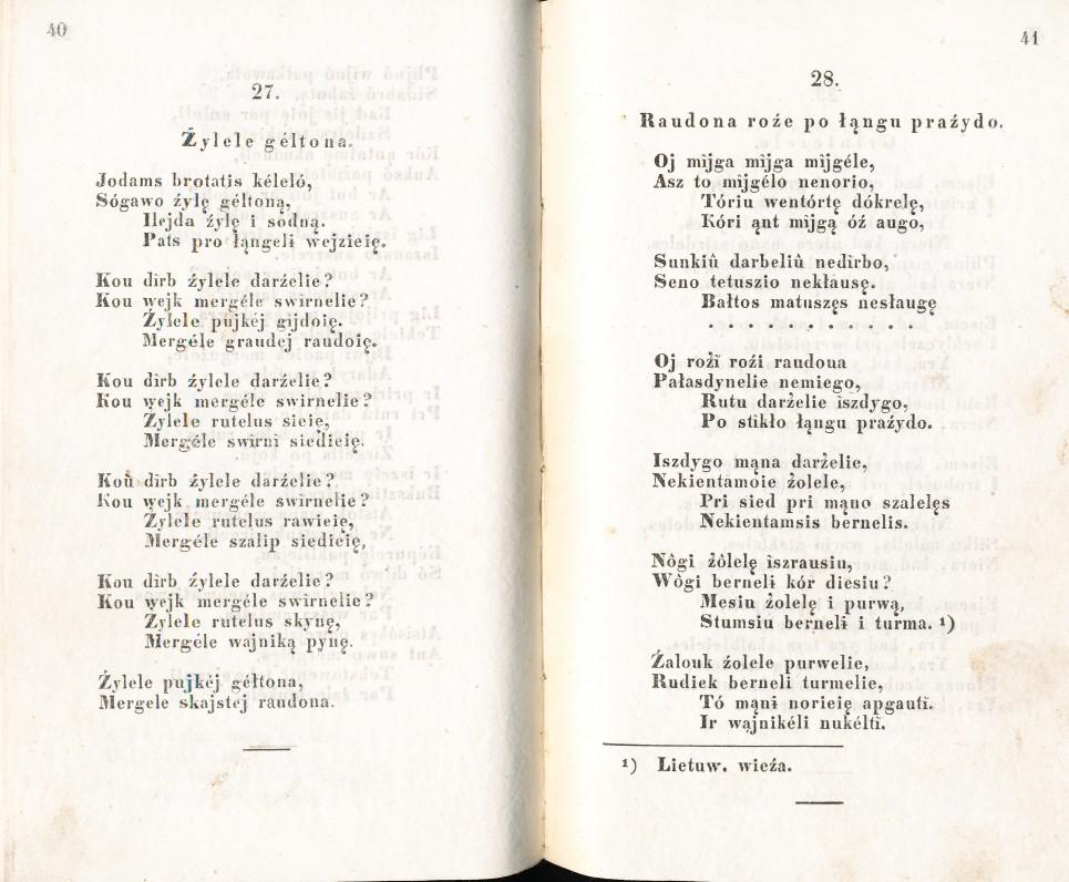 S. Daukantas. Dainės žemaičių. Peterburgas. 1846 m. Tai pirmasis rinkinio leidimas