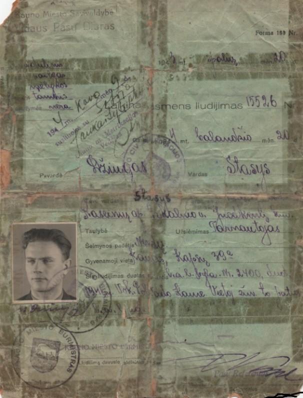 S. Džiugo laikinas asmens liudijimas. 1943 10 20. Kaunas