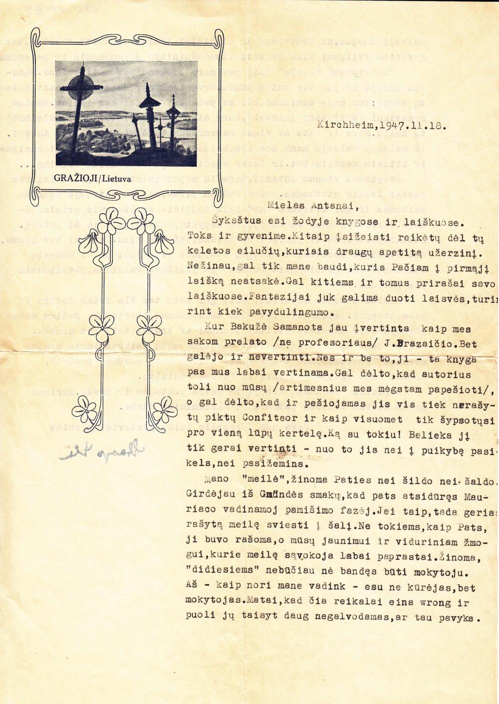 S. Ylos laiškas A. Vaičiulaičiui