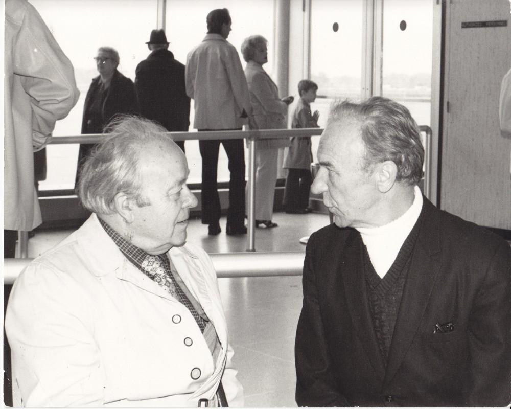 Su Jurgiu Jankumi Ročesterio orouoste, po paskaitos apie M. K. Čiurlionį. Apie 1975 m.