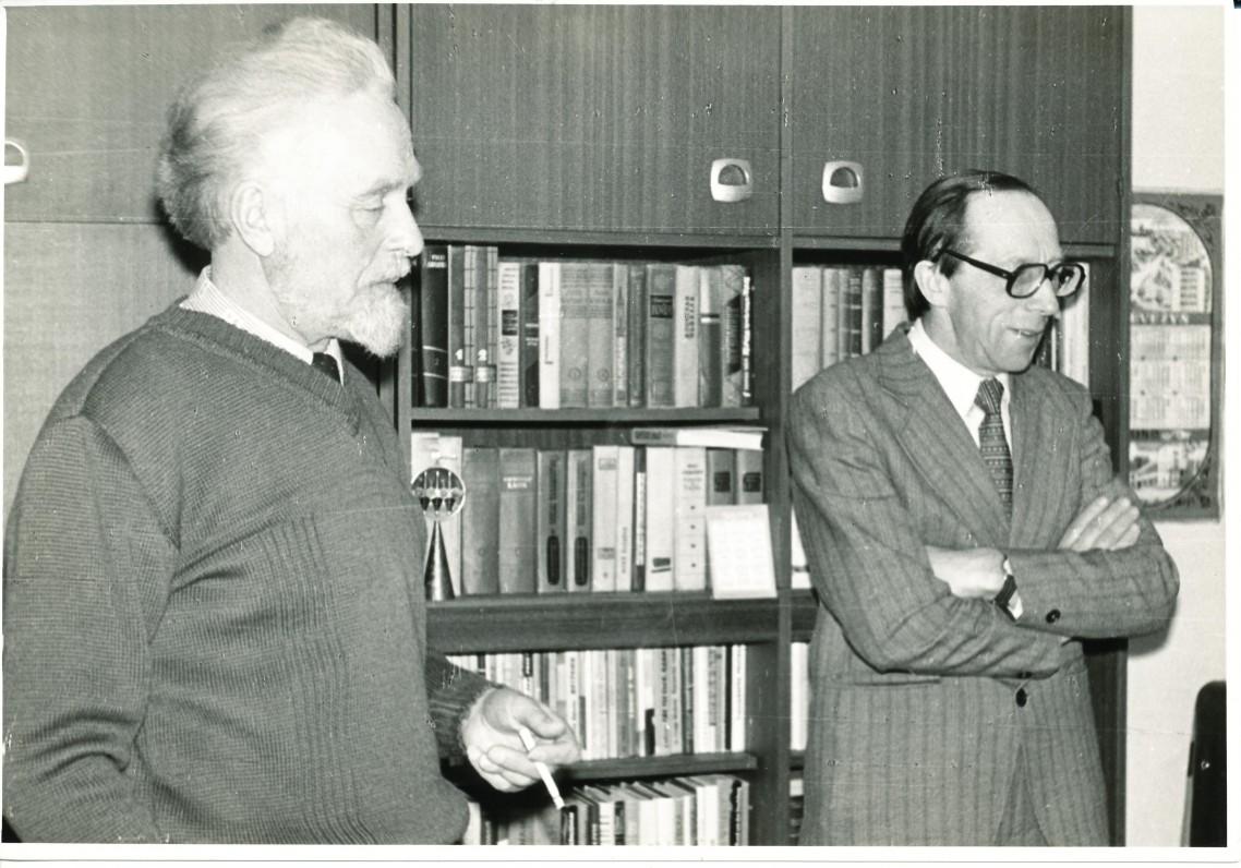 Su literatūrologu Vytautu Kubiliumi. Vilnius. 1982 m. O. Pajedaitės nuotrauka
