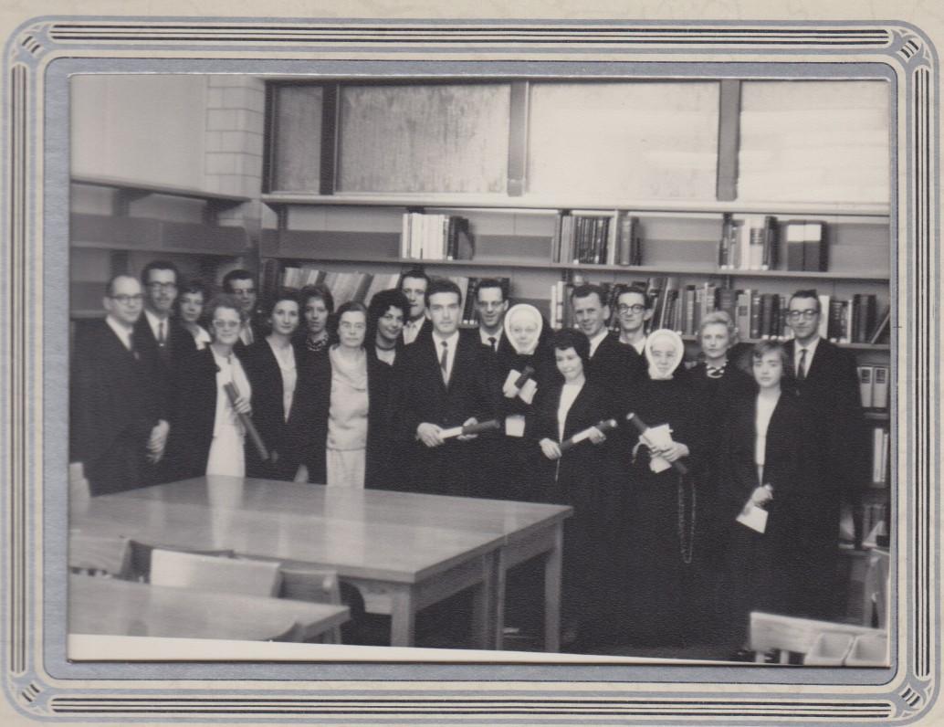 Su studentais bibliotekininkais Montrealio universitete. 1963 m.