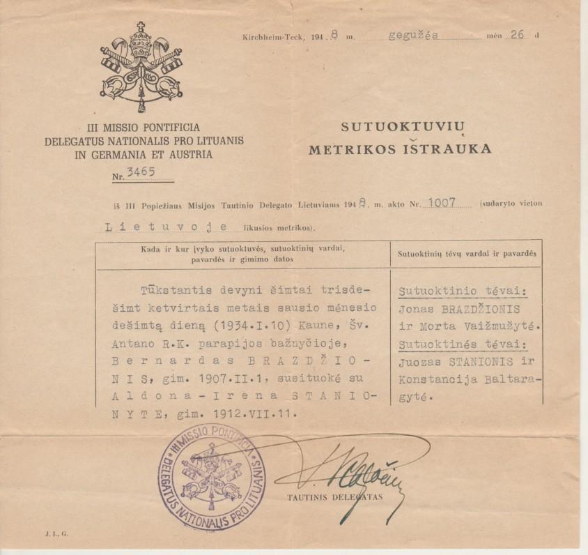 Sutuoktuvių metrikos ištrauka Nr. 3465, išduota B. Brazdžioniui ir Aldonai-Irenai Stanionytei Popiežiaus Misijos Tautinio delegato. Kirchheim-Teck, 1948 m. gegužės 26 d.