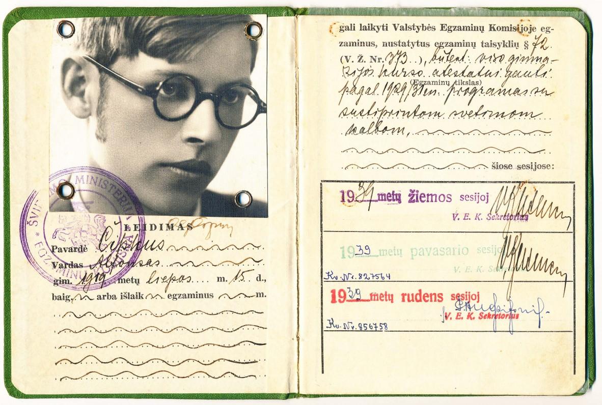 Švietimo ministerijos leidimas, išduotas A. Čipkui, laikyti baigiamuosius egzaminus Nemeikščių gimnazijoje. 1939 m.