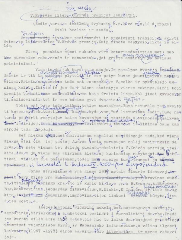 V. A. Jonyno kalba apie J. Strielkūno ir Liūnės Sutemos kūrybą (premijų įteikimo proga)