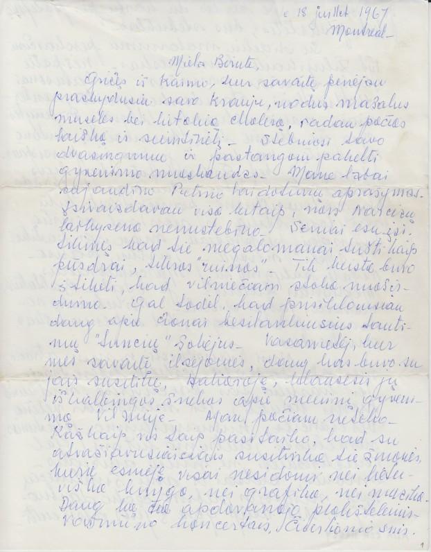 V. A. Jonyno laiškas seseriai Birutei Jonynaitei