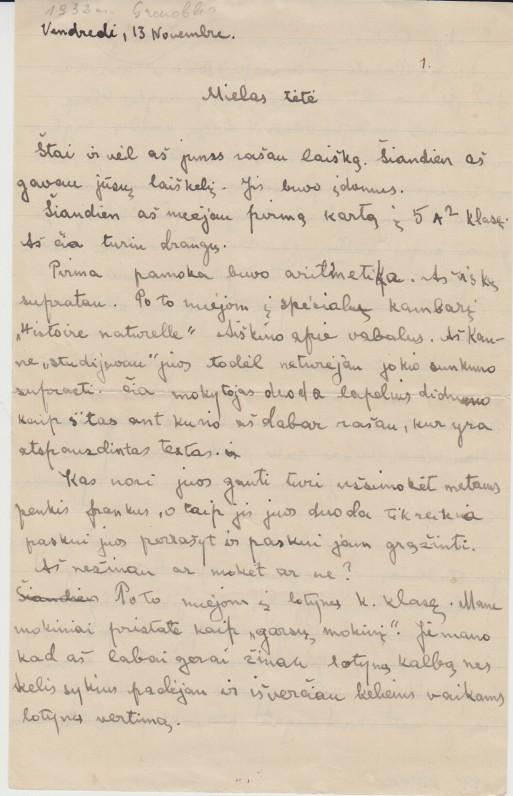 V. A. Jonyno laiškas tėvui Ignui. Grenoblis. 1932 m.