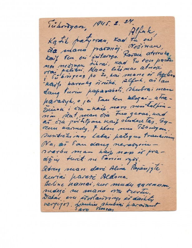 V. Kazoko laiškas A. Nykai-Niliūnui. Tiubingenas. 1945 m.