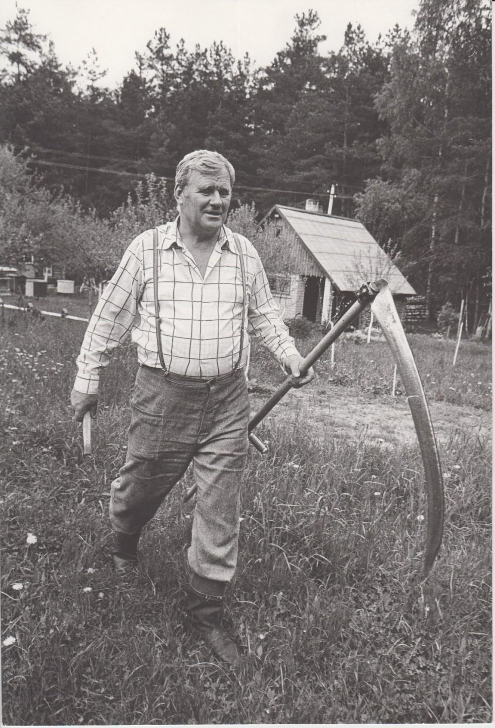 V. Petkevičius Birštone, savo vasarnamyje pjauna žolę, 1987 m. R. Rakausko nuotrauka