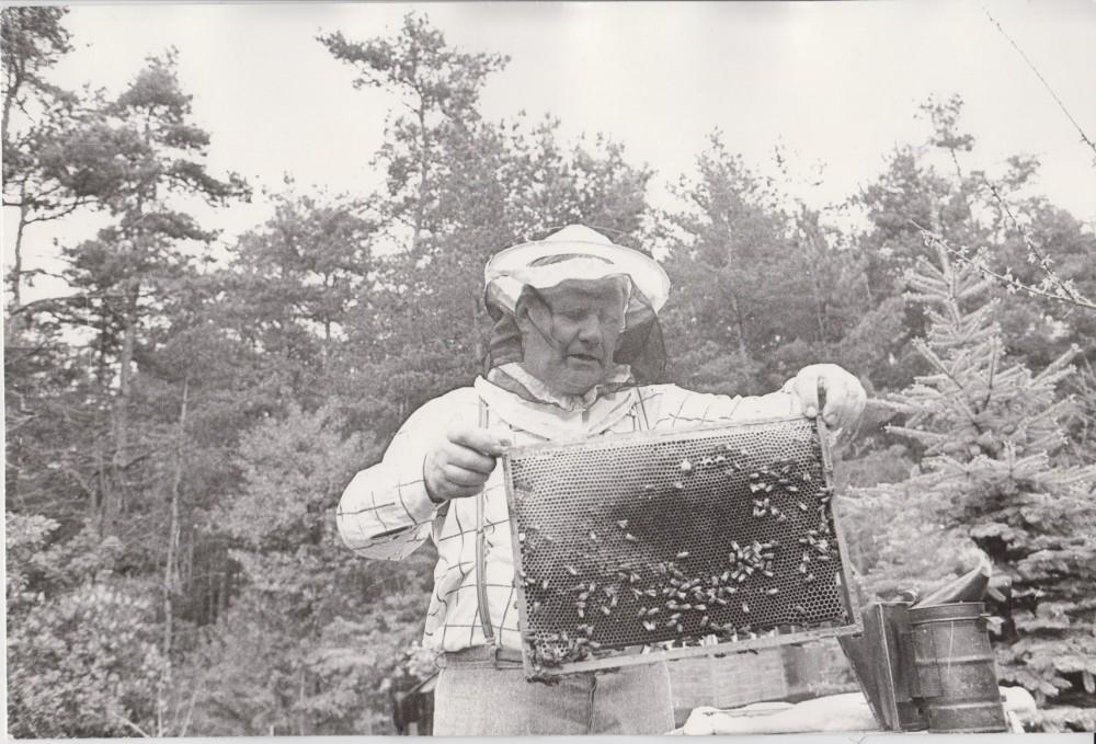 V. Petkevičius Birštone, savo vasarnamyje su koriu, 1987 m. R. Rakausko nuotrauka