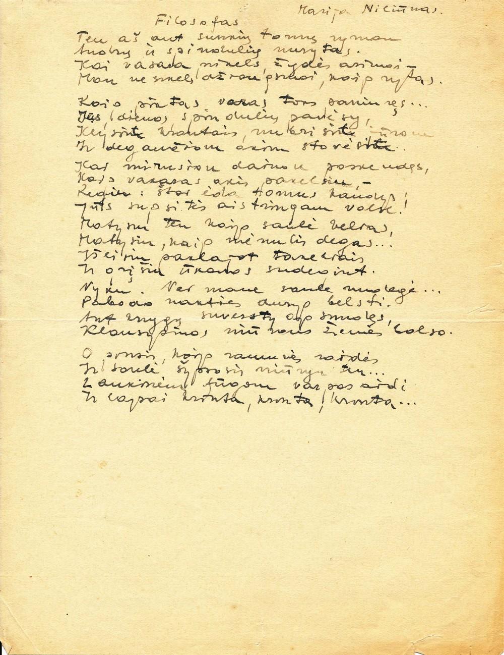 """Vienas pirmųjų poeto eilėraščių, publikuotas """"Dienovidyje"""""""