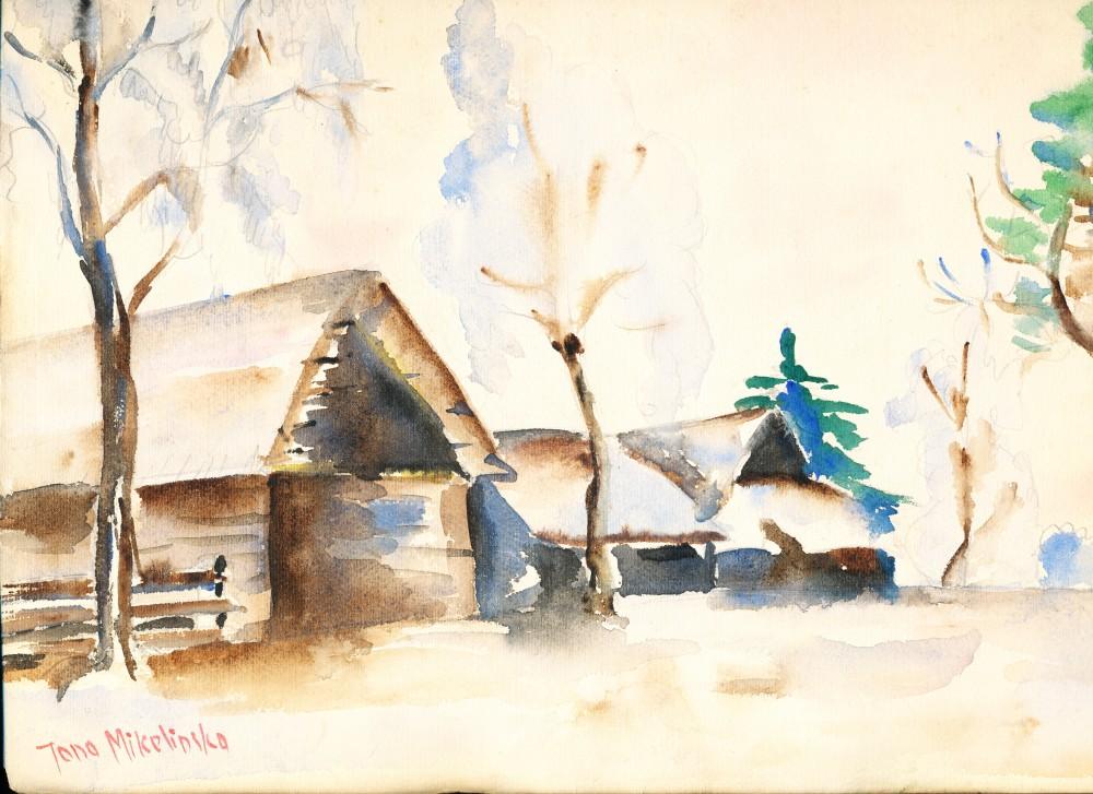Vienkiemis Ratkūnų kaime Pasvalio rajone. Čia prabėgo J. Mikelinsko vaikystė. J. Mikelinsko piešinys