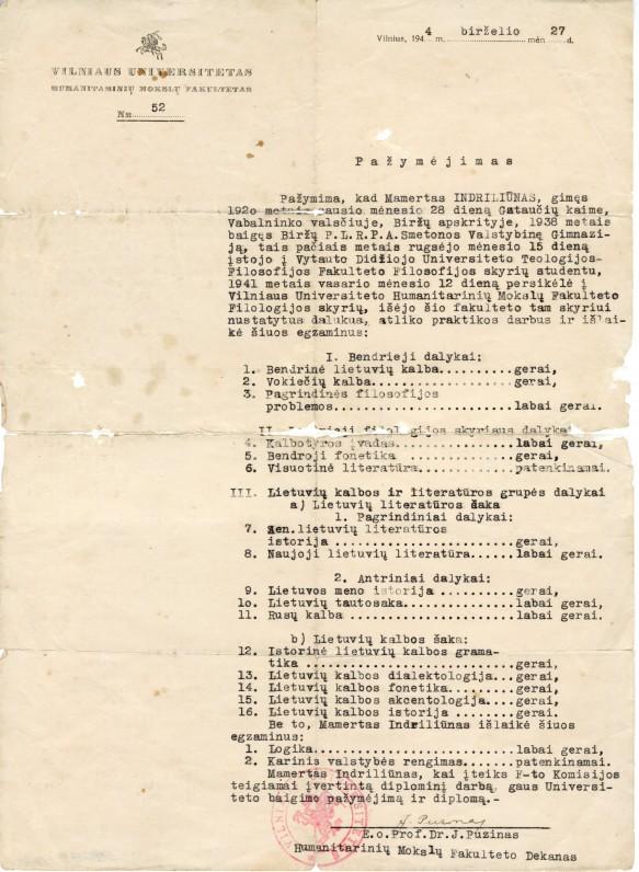 Vilniaus universiteto Humanitarinių mokslų fakulteto pažymėjimas nr.52, išduotas M. Indriliūnui. Vilnius, 1944 m. birželio 27 d.