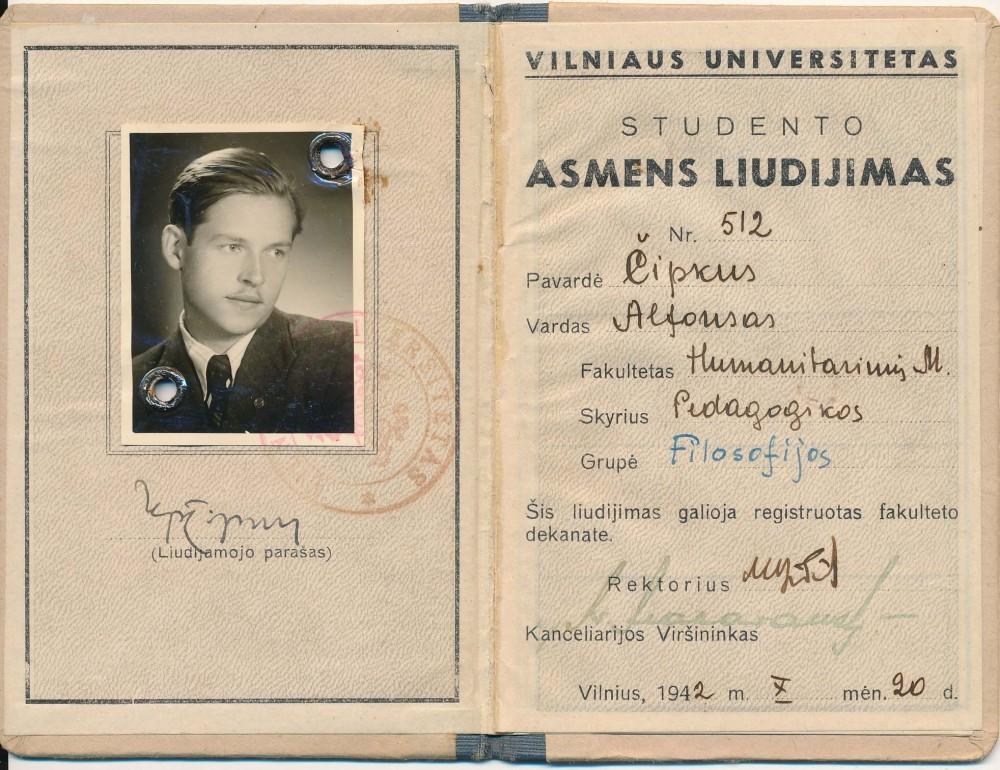 Vilniaus universiteto studento pažymėjimas