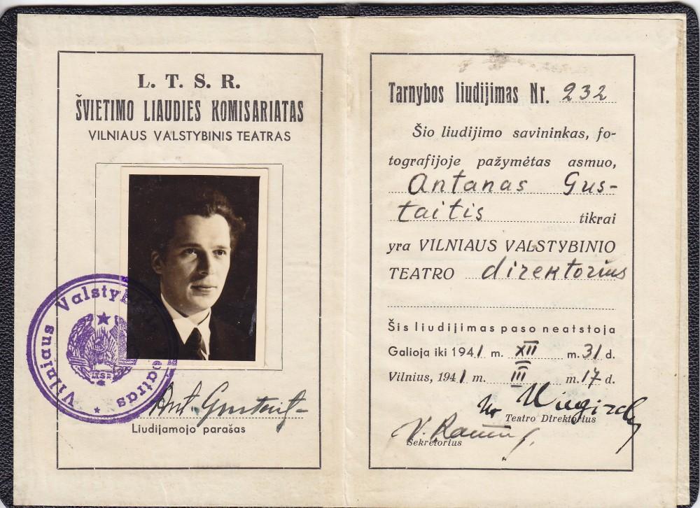 Vilniaus valstybinio teatro tarnybinis pažymėjimas. Vilnius. 1941 m.