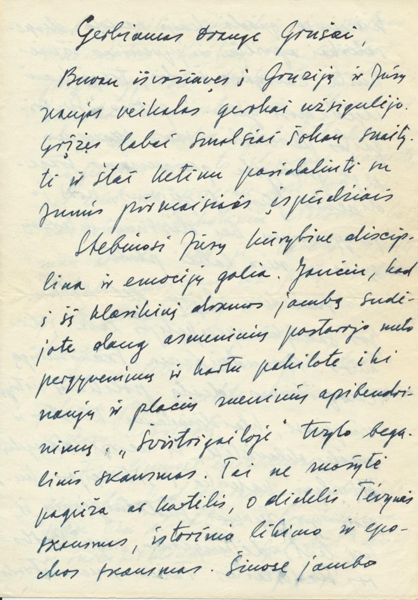 J. Lankučio laiškas J. Grušui