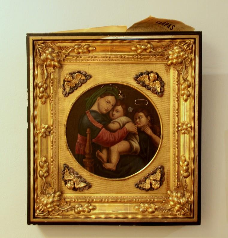 """Rafaelio """"Madonos"""" kopija žalvario papuošime. Autorius nežinomas. XIX a. Paveikslas iš Antano Vienažindžio rinkinio"""