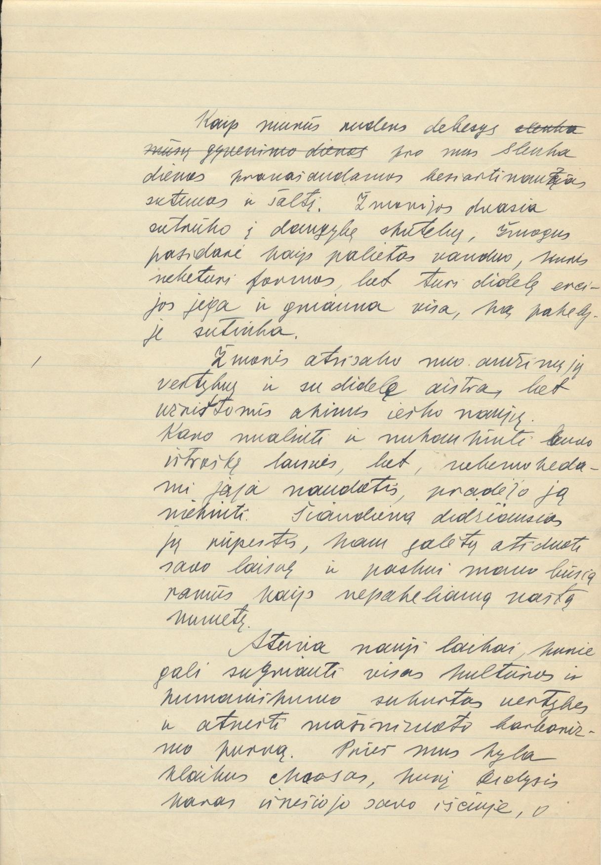 """J. Grušo rankraštis """"Ties bekylančiu chaosu"""" 2"""