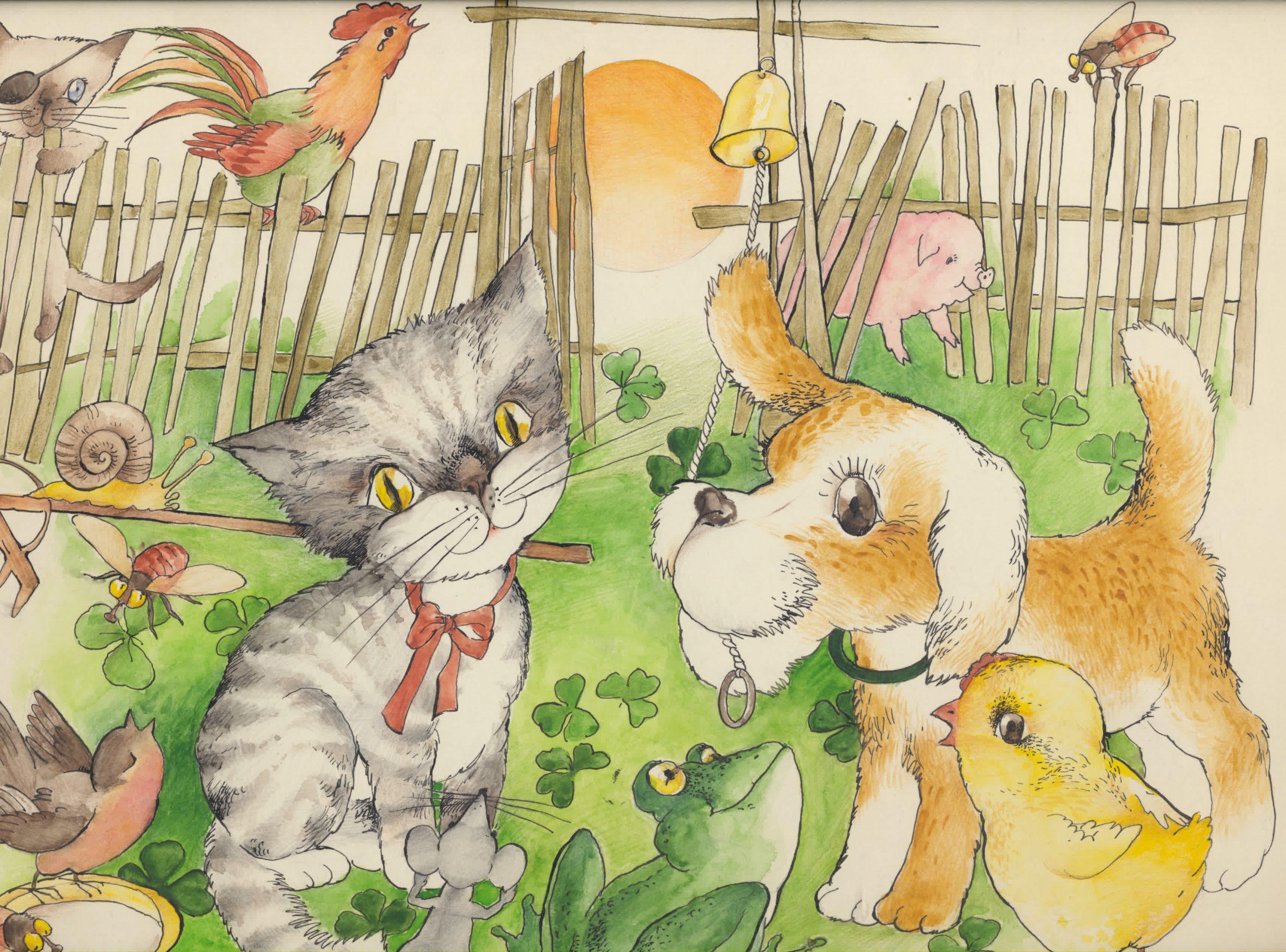 """Viena iš muziejuje saugomų T. Balčiūnaitės iliustracijų V. Reimerio knygelei vaikams """"Šimtas dėdžių"""". 1986 m."""