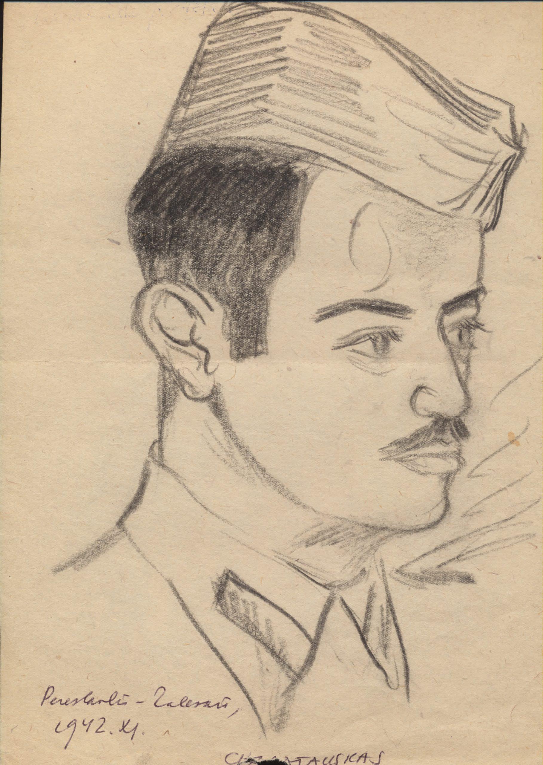 V. Reimeris ne tik eiliavo, bet ir buvo muzikantas bei dailininkas mėgėjas. Jo pieštas nežinomo Chajatausko portretas. 1942 m.
