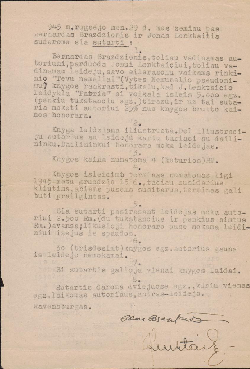 """B. Brazdžionio ir leidyklos """"Patria"""" sutartis dėl Vytės Nemunėlio knygos vaikams """"Tėvų nameliai"""" išleidimo. Ravensburgas. 1945 m. rugsėjo 29 d."""