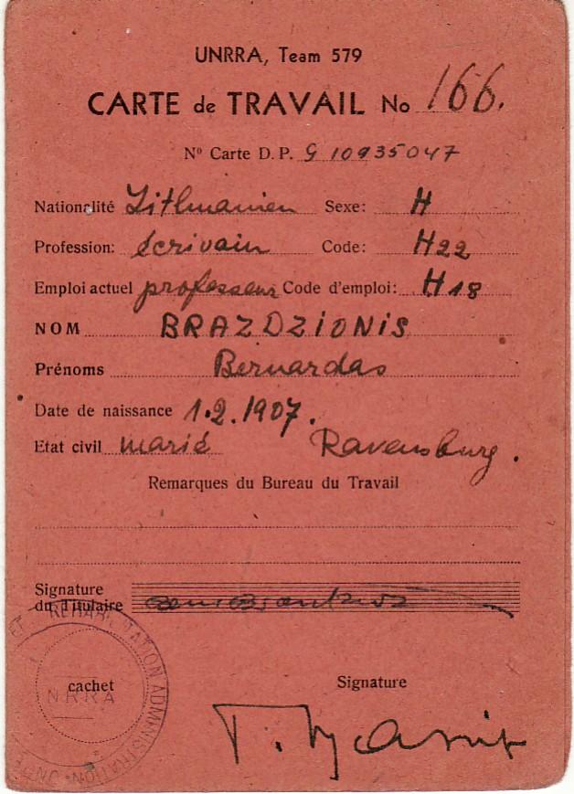 B. Brazdžionio darbo kortelė Nr. 166 prancūzų k. su parašais ir antspaudais. 1946 spalis – 1947 rugsėjis