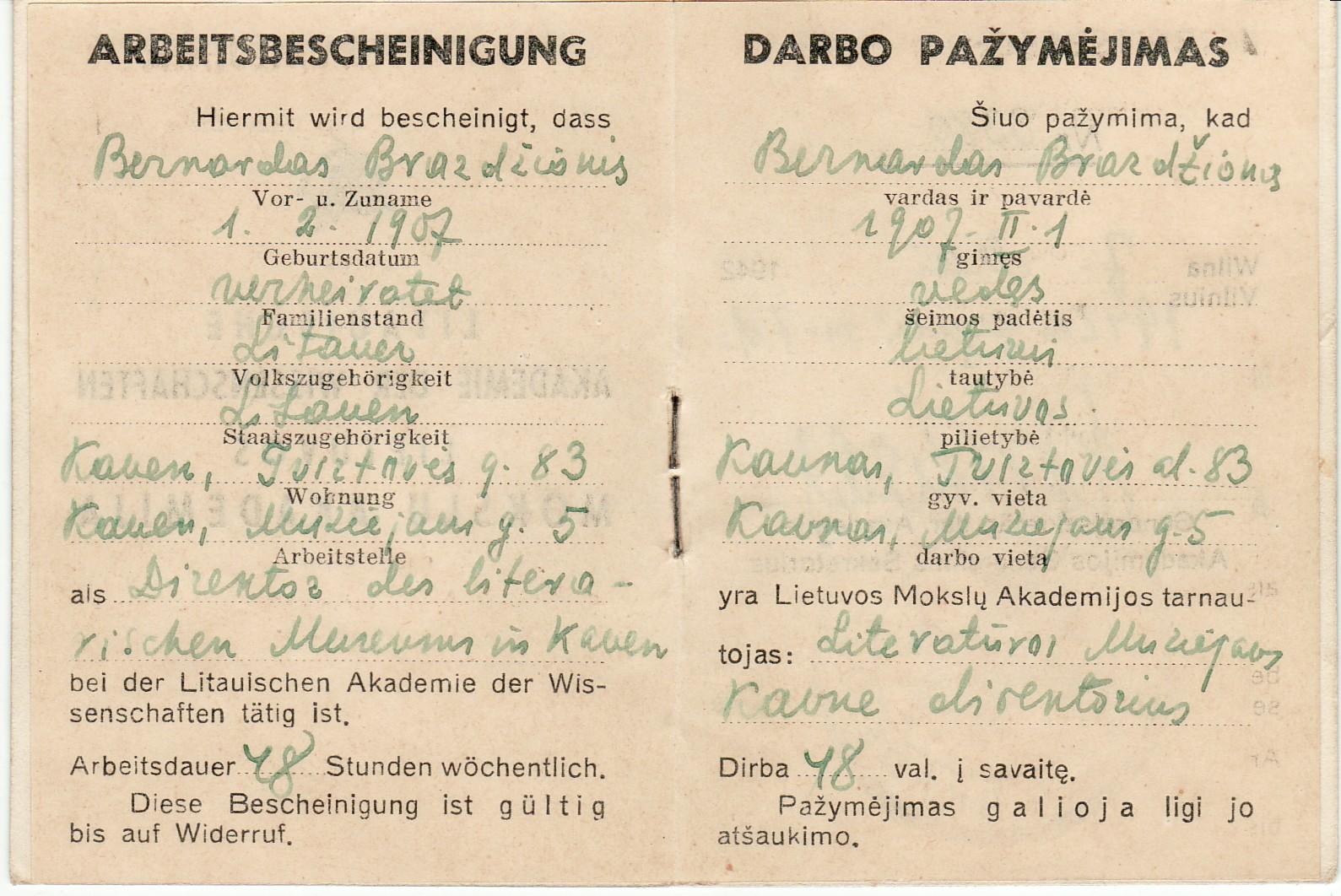 Darbo Maironio muziejuje pažymėjimas, išduotas B. Brazdžioniui 1942 m. gegužės 7 d. Vilniuje