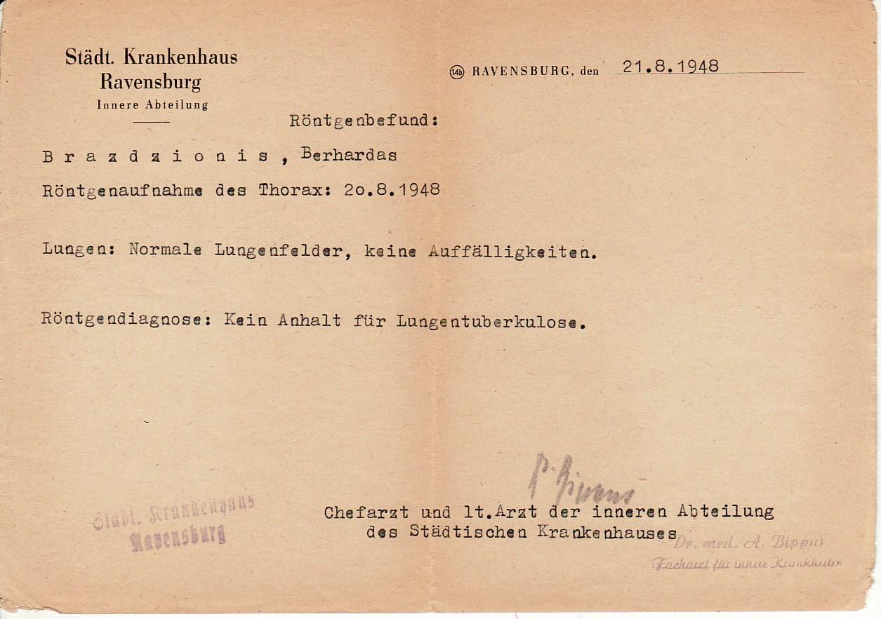 Ravensburgo miesto ligoninės pažyma, jog B. Brazdžionis neserga plaučių TBC. Išduota 21.8.1948.