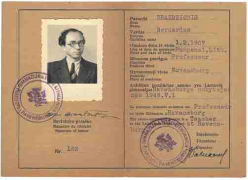 Lietuvių Gimnazijos mokytojo pažymėjimas Nr. 163, išduotas B. Brazdžioniui Ravensburge 1946 m.
