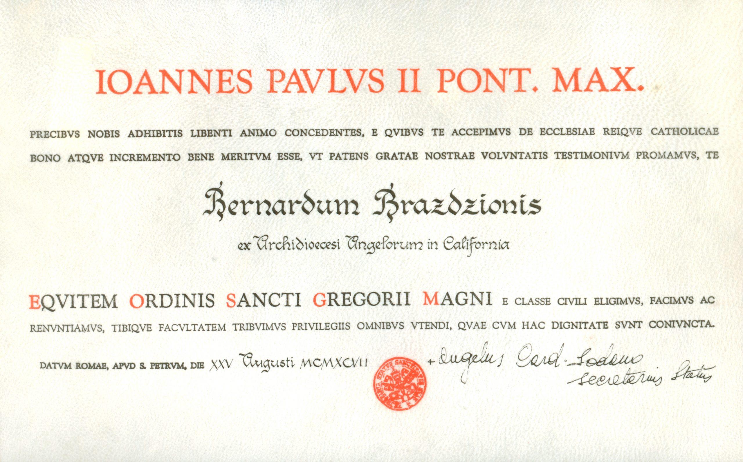 Apdovanojimo Šv. Grigaliaus Didžiojo Riterių Komandieriaus ordinu dokumentas. 1998 m.