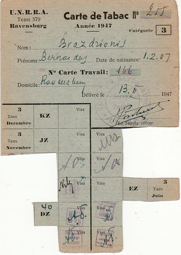 Tabako kortelė Nr. 255 prancūzų k., išduota B. Brazdžioniui Ravensburge 1947.II.13.