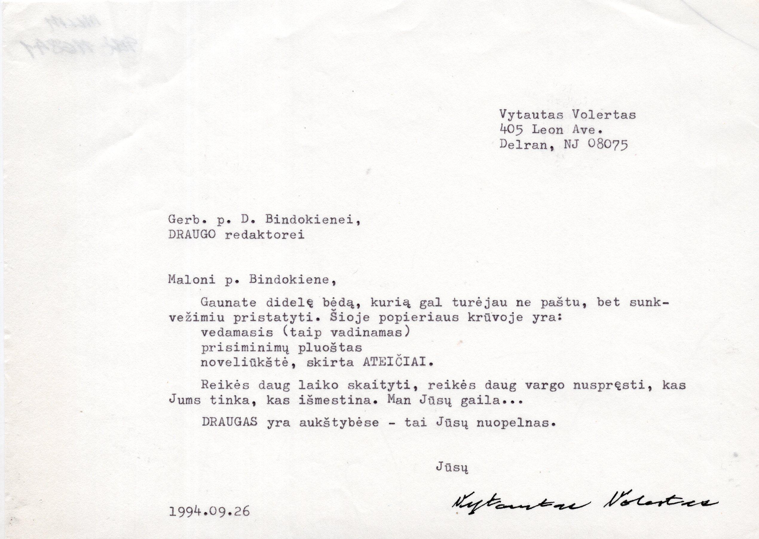 """V. Volerto laiškas dienraščio """"Draugas"""" redaktorei D. Bindokienei. Niujorkas, 1994 m. rugsėjo 26 d."""
