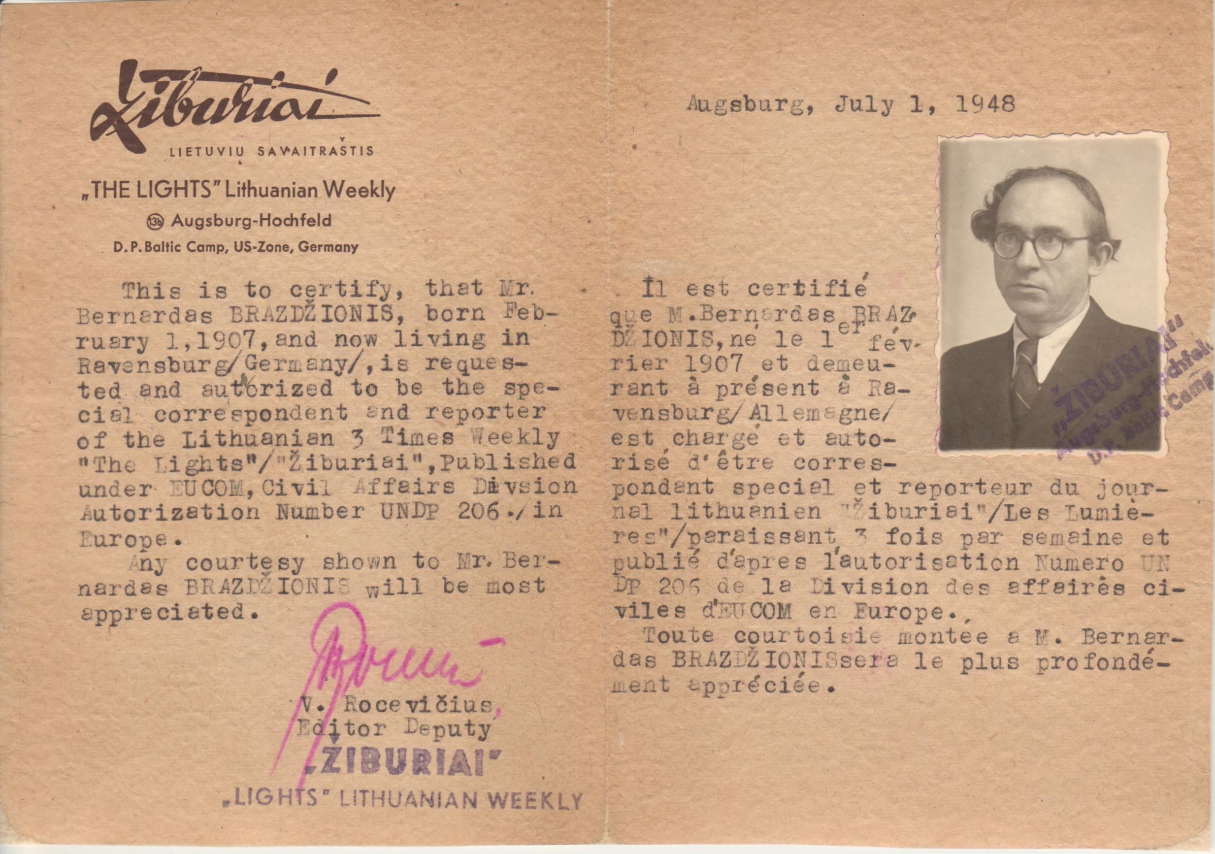 """Lietuvių savaitraščio """"Žiburiai"""" pažyma anglų ir prancūzų kalbomis, kad B. Brazdžionis yra korespondentas. Augsburgas, 1948 m. liepos 1 d. Dokumentas restauruotas 2015 m., restauratorė Dalia Veselauskienė"""