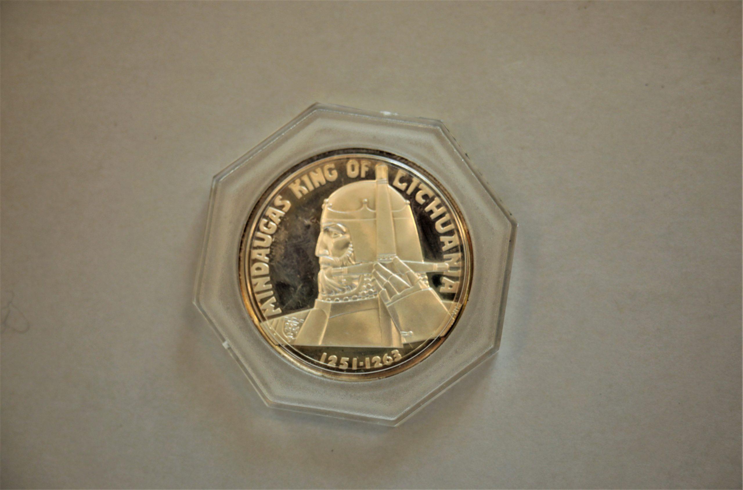 Medalis. Mindaugas King Of Lithuania. Sidabras. Aversas. Dail. V. Kašuba