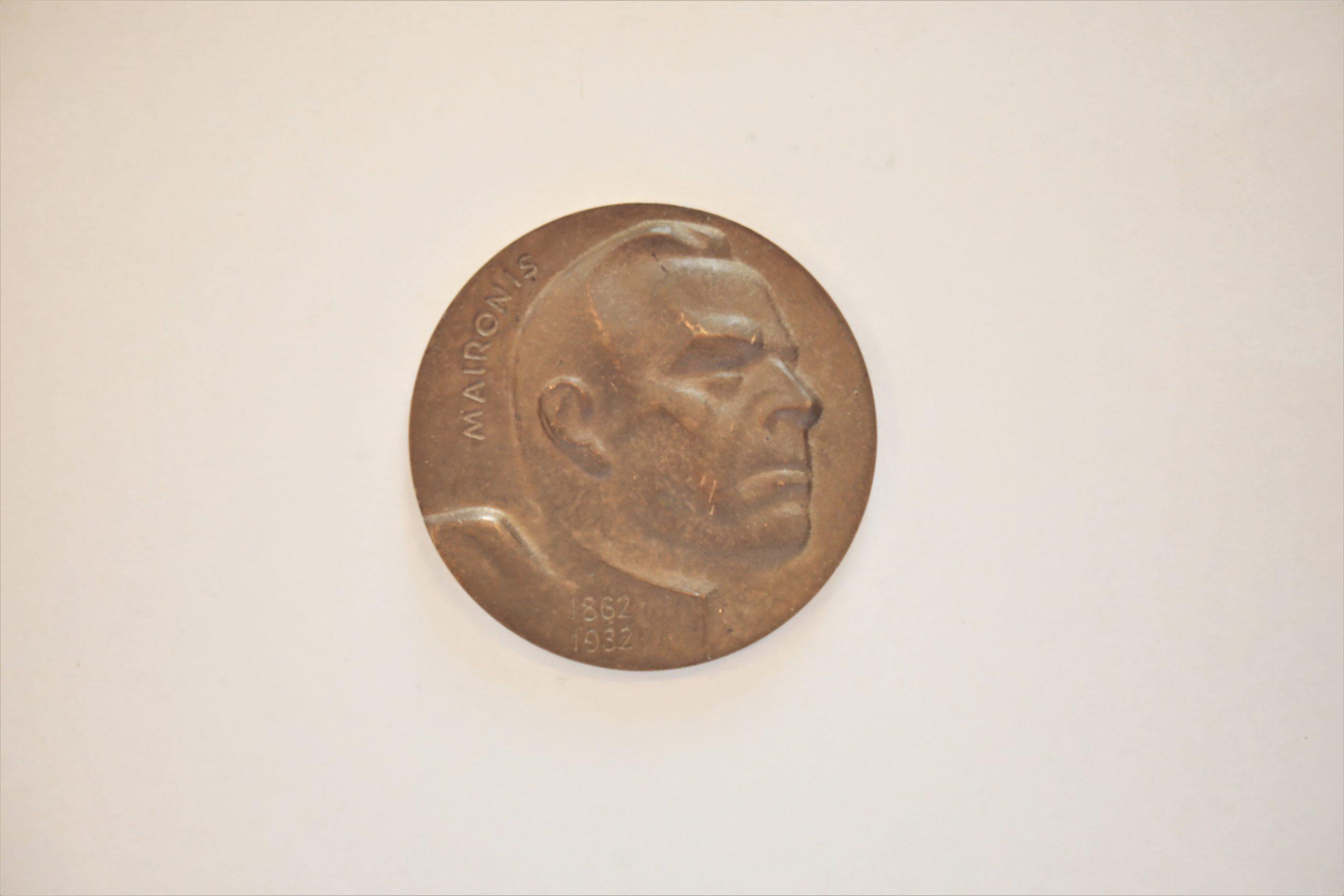 Medalis. Maironis. Aversas. Metalas. Dail. G. Jokūbonis