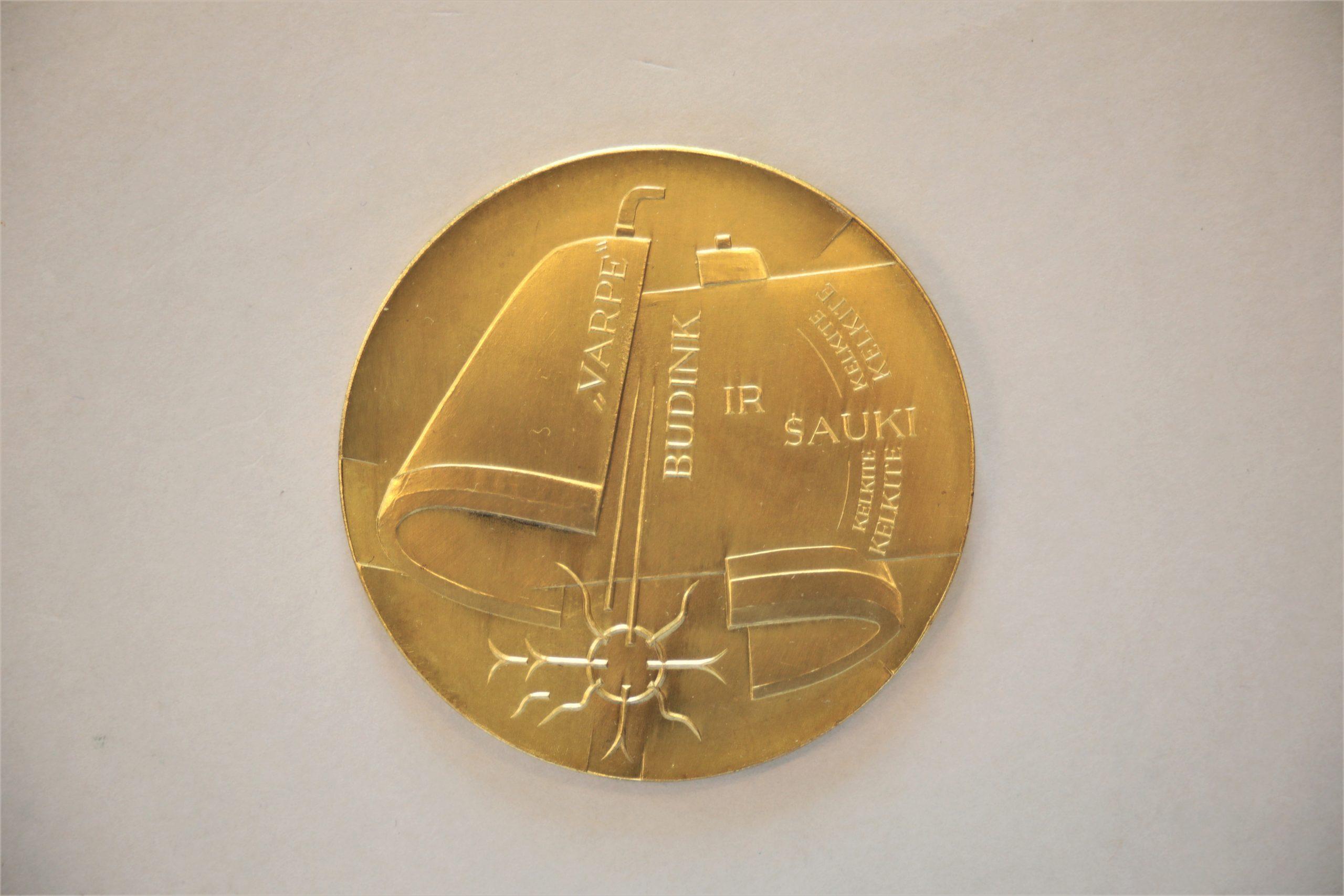 Medalis. Vincas Kudirka. Geltonas metalas. Reversas. Dail. G. Karalius