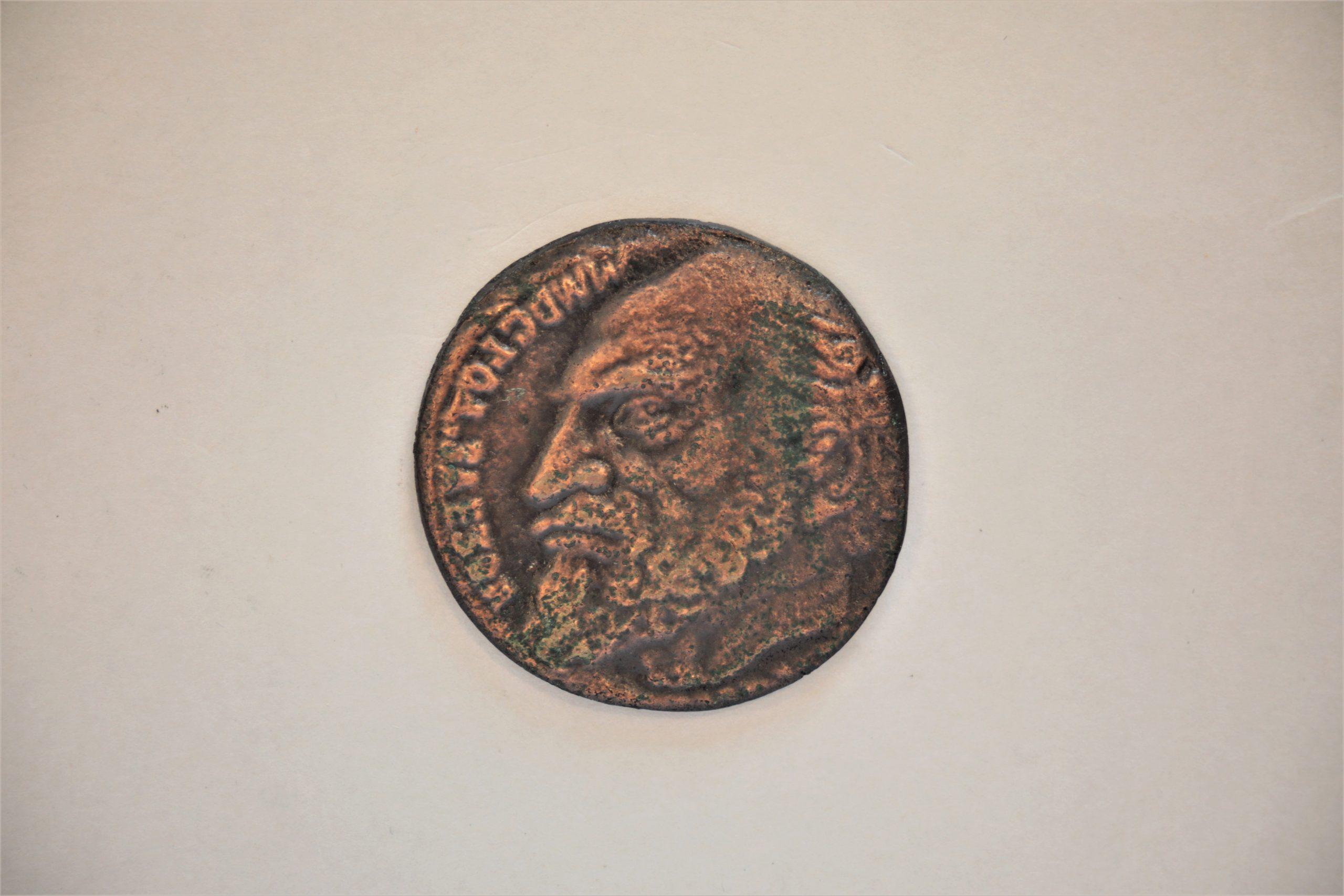 Medalis. Ezopas. Metalas. Aversas. Dail. E. Varnas